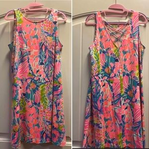 Lilly Pulitzer Gumbo pink multi dress- small